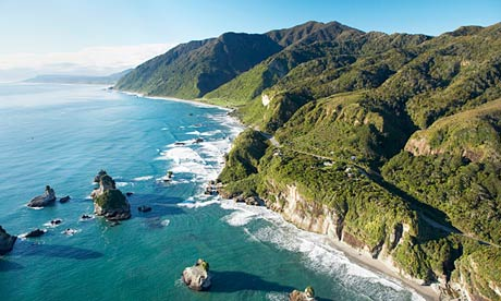 Coast north of Greymouth on South Island, New Zealand