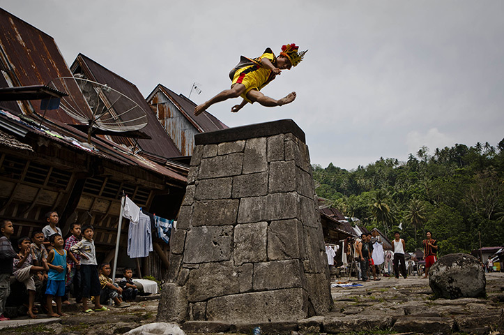 Stone jumping on Nias: A villager wearing traditional costume jumps over a stone