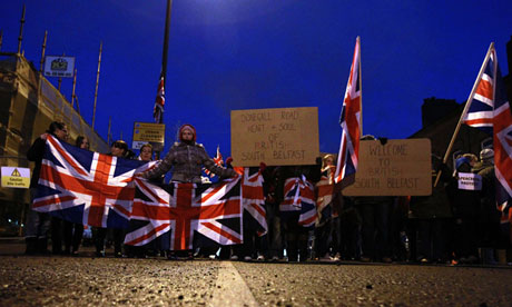 Union flag protesters march in Belfast