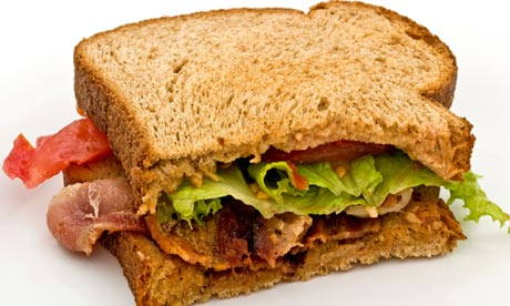 Bacon, lettuce and Tomato sandwich on brown bread. Image shot 06/2009. Exact date unknown.
