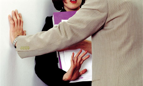 Woman at work rejecting advance