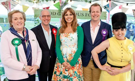 Food Glorious Food: the judges with presenter Carol Vorderman, centre.