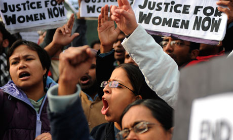 Indian demonstrators calling for better safety for women. Source: guardian.co.uk