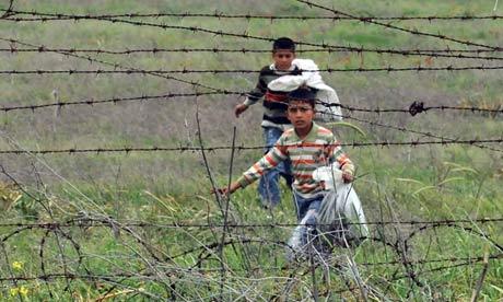 Syrian refugee children near Syria-Turkey border, 2012