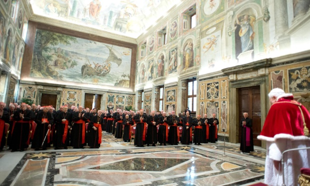 Pope Benedict XVI pledges obedience to his successor at a meeting of cardinals on his last day as pontiff in the Vatican City.