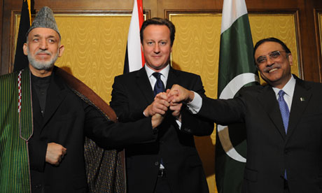 David Cameron, Asif Ali Zardari and Hamid Karzai