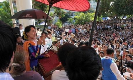 Aung San Suu Kyi at the Irrawaddy literary festival in Burma