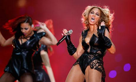 Beyoncé performs at half-time in Super Bowl XLVII