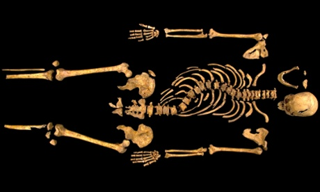 A picture released today from the University of Leicester shows the skeleton of King Richard III found at the Grey Friars Church excavation site in Leicester.