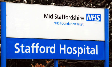 A close-up view of the signage outside Stafford General Hospital.