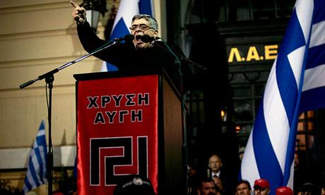 Golden Dawn leader Nikos Michaloliakos addresses a rally in Athens