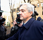 Chris Huhne leaving Southwark Crown Court