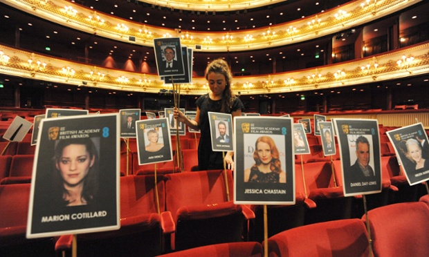 Pictures of film stars on sticks are laid out for camera tests ahead of this Sunday's EE 2013 BAFTAs at The Royal Opera House in London.