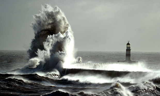 Gale Force winds from the North make spectacular pictures as they battered the seafront at Seahman harbour south of Sunderland.