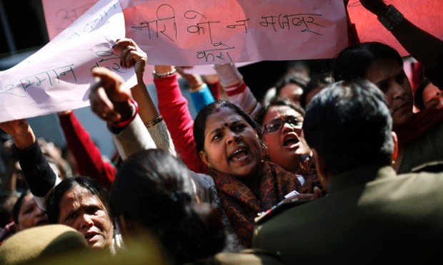 Activists of the Vishwa Hindu Parishad or the World Hindu Council, shout slogans against an art exhibition showcasing modern art including nudes New Delhi, India.