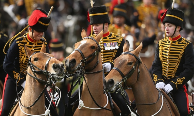Some frisky members of the King's Troop, Royal Horse Artillery gather ahead of a 41-gun salute in Green Park on February 6, 2013 in London, England. The salute is to mark the 61st anniversary of the Queen's accession to the throne.