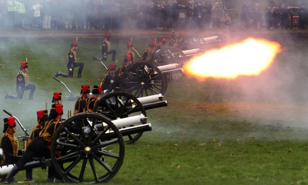 And here they are, firing their 41 Gun Royal Salute in Green Park in central London.