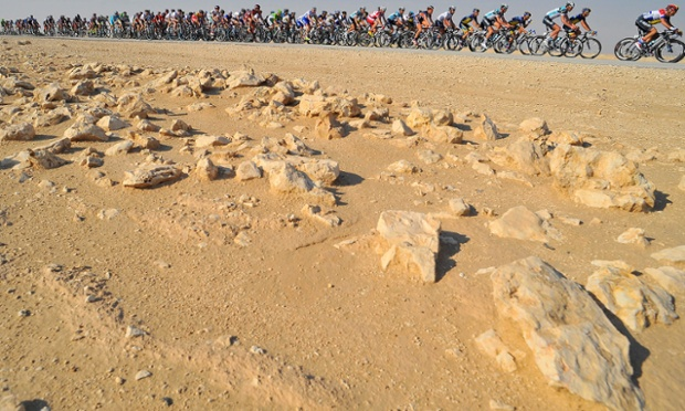 The pack during the fourth stage of the Tour of Qatar cycling race between Camel Race Track and Al Khor Cornich, Qatar, today.