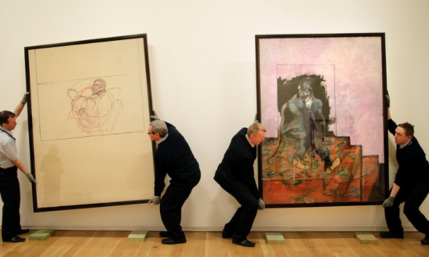 Art Handlers lifting two works of art by Francis Bacon in the Hugh Lane Gallery, Dublin, both called unititled,  as they prepare to ship them along with other Irish works of art to the BOZAR centre for fine arts in Brussels as part of Culture Ireland's exhibition during Ireland's Presidency of the European Union.