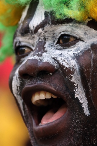 A Ghana soccer fan before the start of the African Cup of Nations semi final soccer match at Mbombela Stadium against Burkina Faso in Nelspruit, South Africa.