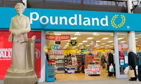 The Margaret Thatcher statue outside a branch of Poundland