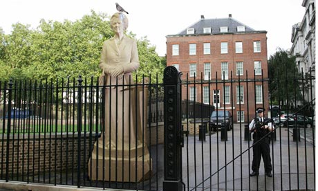 The Margaret Thatcher statue outside Downing Street.