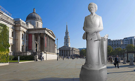 The Margaret Thatcher statue in Trafalgar Square.