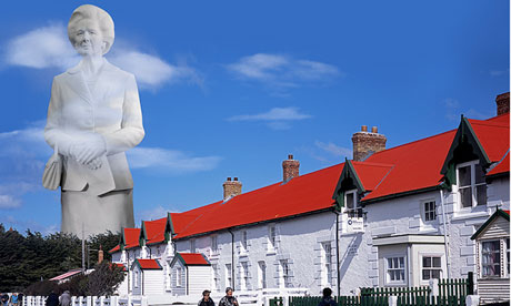 The Margaret Thatcher statue in Port Stanley, in the Falkland Islands.