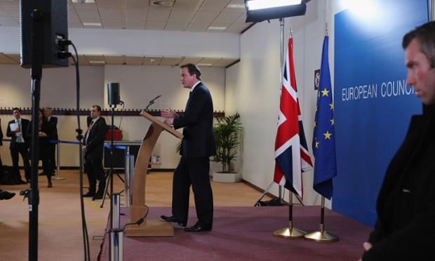 British Prime Minister David Cameron addresses the media at the headquarters of the Council after reaching a deal on the budget for 2014-20 on February 8, 2013 in Brussels, Belgium