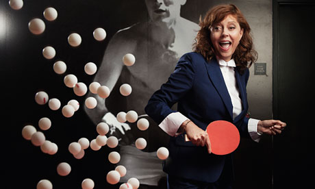 Susan Sarandon playing ping pong