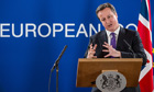 David Cameron speaks to the press at the end of the EU budget summit