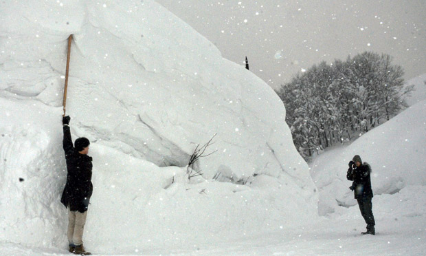 japan 39 s record snowfall still not the deepest ever world news the