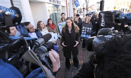 Taren Stinebrickner-Kauffman speaks to reporters during a protest in Washington, DC in February. Photograph: Karen Bleier/AFP/Getty Images
