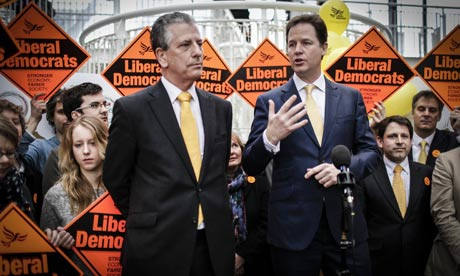 Nick Clegg celebrate victory with in Eastleigh with Lib Dem candidate Mike Thornton