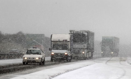 Snowy conditions on the A20 near Dover in Kent