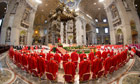 Cardinals attend a Mass papal conclave