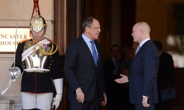 Britain's foreign secretary William Hague and his Russian counterpart Sergei Lavrov ahead of talks in London. Lavrov warned Britain against arming rebels in Syria.