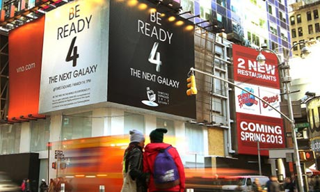 Samsung billboards in Times Square New York ahead of the new Samsung Galaxy S4 launch