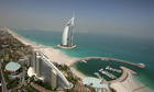 Aerial view of the seven stars hotel Burj al Arab in Dubai