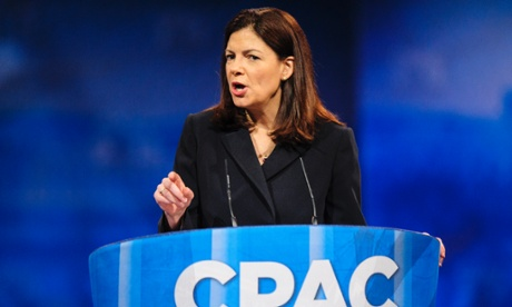 Senator Kelly Ayotte gives a hawkish speech at the CPAC conference just outside Washington DC.