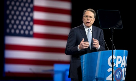 National Rifle Association chief Wayne LaPierre speaks at the 40th annual Conservative Political Action Conference in National Harbor, Maryland.