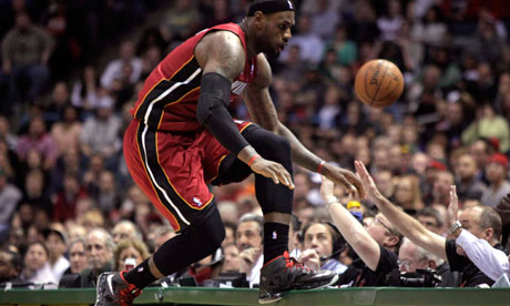 LeBron James chases after a loose ball