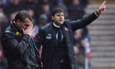 Liverpool manager Brendan Rodgers (left) and Southampton's Mauricio Pochettino at St Mary's Stadium