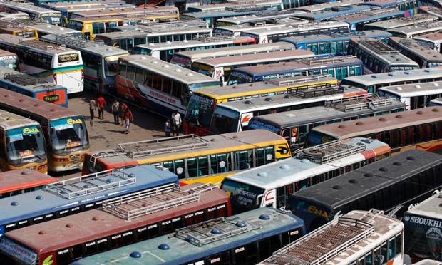 Hundreds of buses are parked in the terminal during a 36 hour long country-wide strike called by the Bangladesh Nationalist Party (BNP) in Dhaka, Bangladesh.