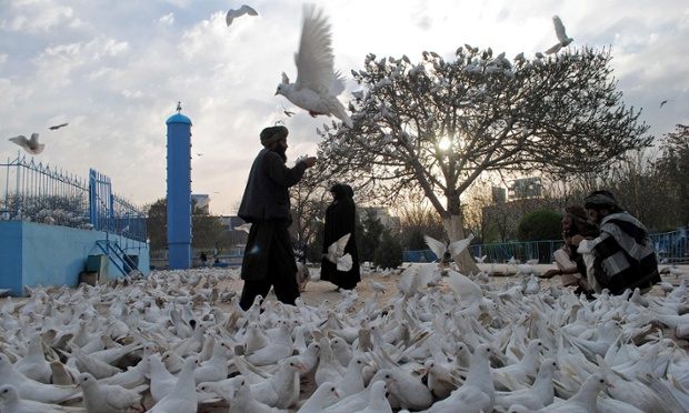Afghan men feed pigeons in front of the shrine of Hazrat-i Ali ahead of Nowruz, the Persian New Year celebrations in Mazar-i Sharif.  Nowruz marks the first day of spring and the beginning of the year in the Persian calendar.