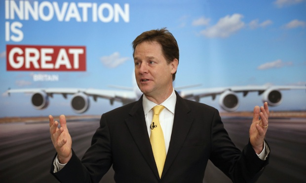 Deputy Prime Minister Nick Clegg speaks to staff working in research and development as he visits the Airbus site at Filton, Bristol.