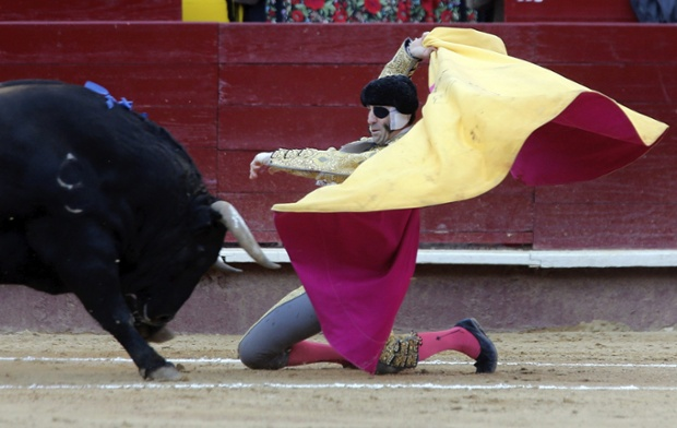 Spanish bullfighter Juan Jose Padilla faces his first bull of the evening during the bullfighting on the occasion of Las Fallas' Fair held at Valencia's bullring in Valencia, Spain.