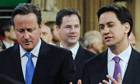 Press regulation miliband cameron clegg