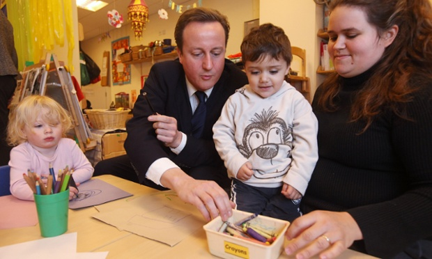 David Cameron on a visit to a London nursery in 2010.