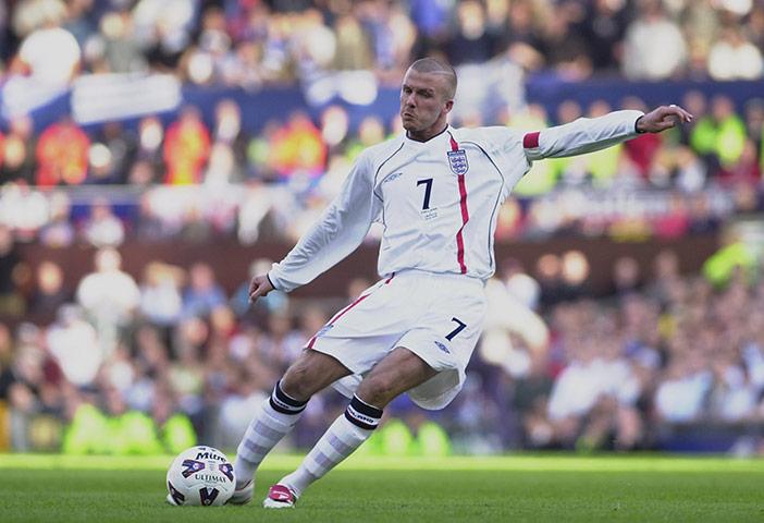 David Beckham Playing Soccer For England England's Umbro footba...